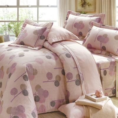 eyah宜雅 全程台灣製100%精梳純棉雙人床罩兩用被全舖棉五件組 輕鬆田園-粉