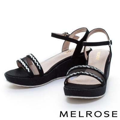 MELROSE-質感S水鑽網布羊皮金蔥楔型涼鞋-黑