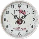 Hello Kitty凱蒂貓 優雅蕾絲水鑽玻璃超靜音掛鐘(珍珠白)JM-W598KT-W