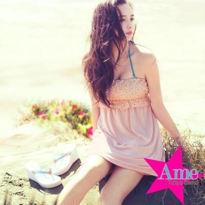 露肩渡假風蕾絲美胸洋裝-粉紅-Ame-Tokyo