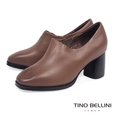 Tino Bellini 極簡原色全真皮高跟踝靴_ 深駝