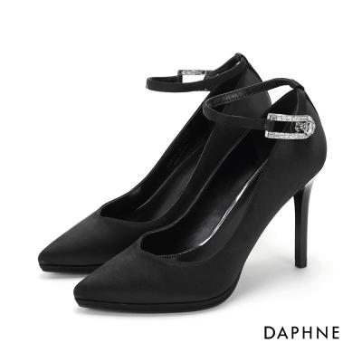 達芙妮DAPHNE 高跟鞋-絲綢繞踝水鑽釦飾尖頭高跟鞋-黑