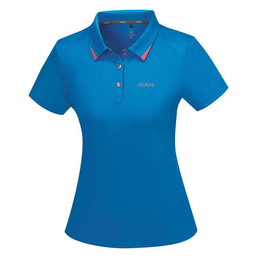 【ATUNAS 歐都納】ATUNAS-TEX女排汗短POLO衫A-P1708W藍