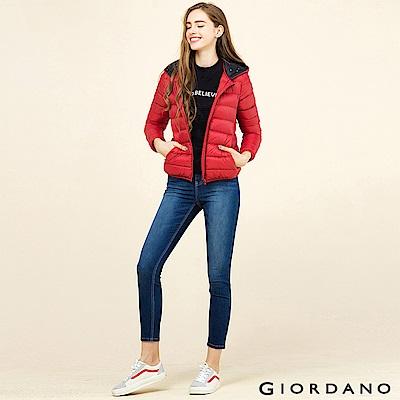 GIORDANO 女裝可機洗連帽輕羽絨外套 - 04 標誌紅