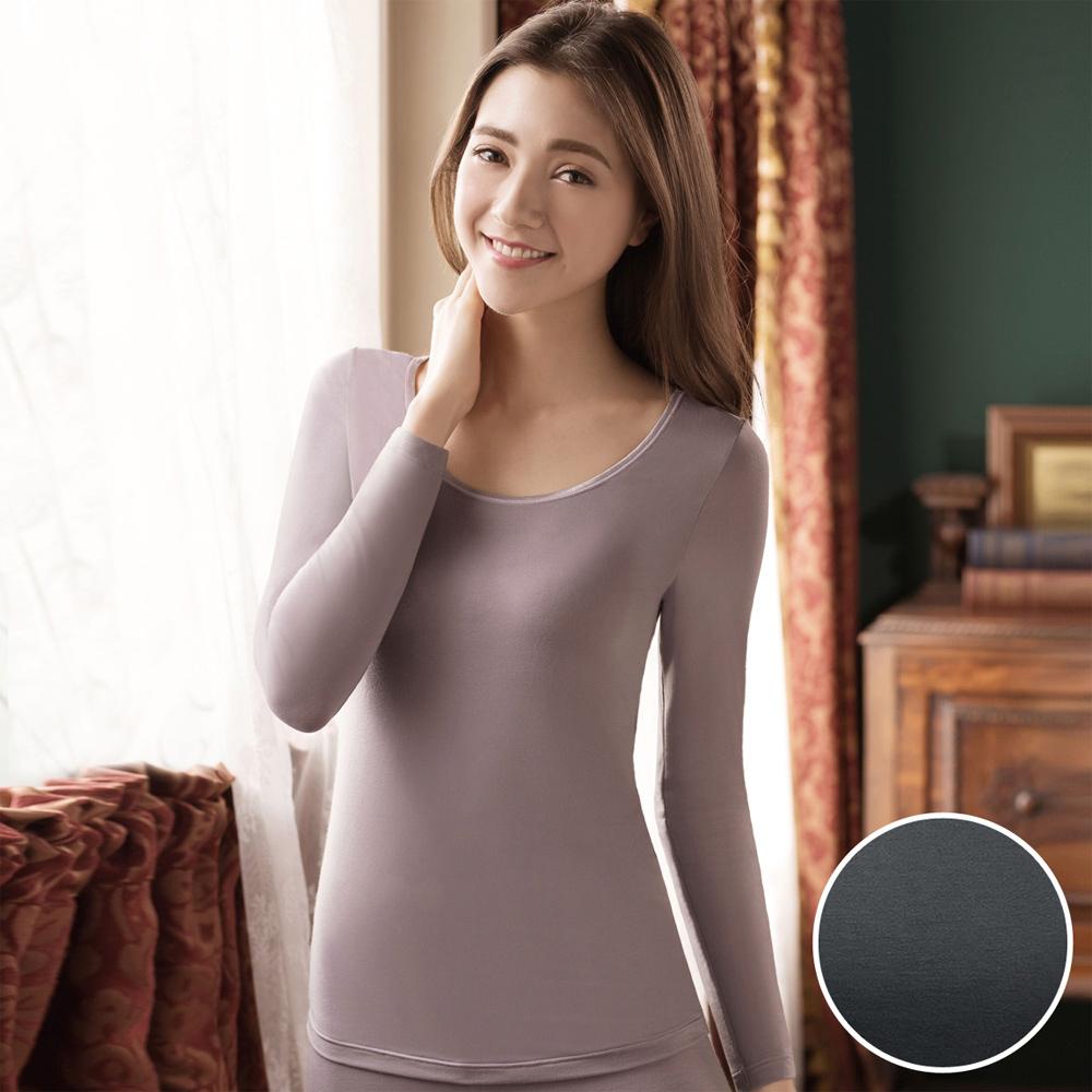 華歌爾 NEW EKS 升級發熱衣 M-LL圓領長袖款(灰黑)-保暖