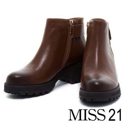 踝靴 MISS 21 經典旅行全真皮模鬼氈粗跟踝靴-擦色棕