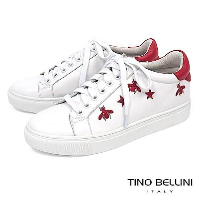 Tino Bellini 童趣刺繡綁帶休閒鞋_ 白