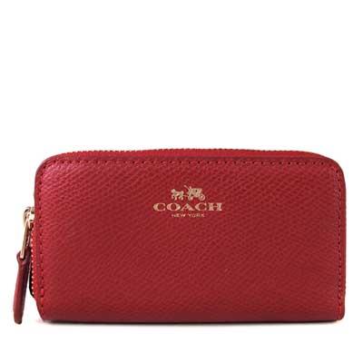 COACH-金馬車Logo雙層卡夾零錢包-正紅色
