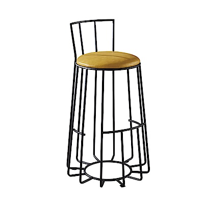 AT HOME-工業風設計圓形鳥籠仿舊黃皮低椅背吧台椅(39*39*92cm)