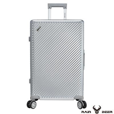RAIN DEER 時尚斜紋 20 吋PC+ABS鋁框行李箱-鈦金銀