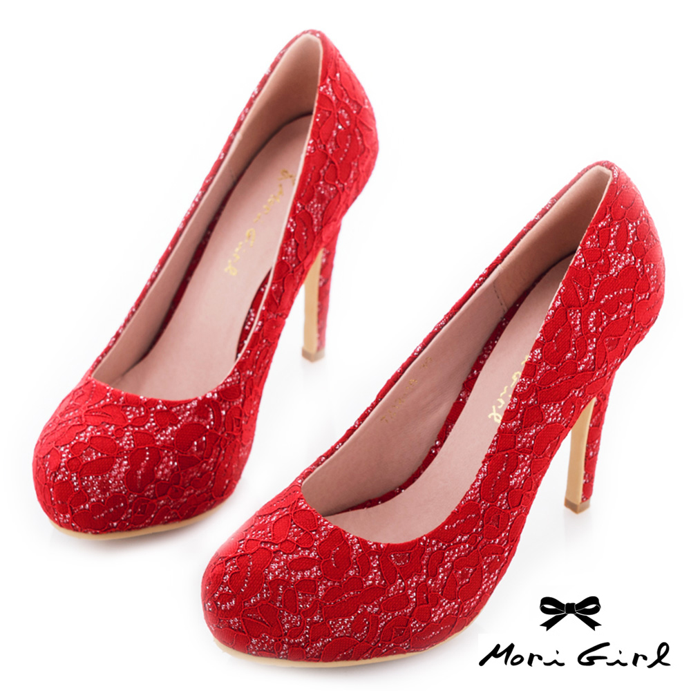Mori girl 2way可拆式蝴蝶結典雅蕾絲婚鞋 紅