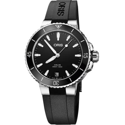 Oris豪利時 Aquis 時間之海潛水300米機械女錶~黑 36.5mm
