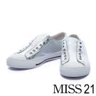 休閒鞋 MISS 21 隨性潮流無鞋帶造型牛皮休閒鞋-銀