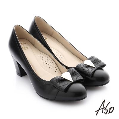 A.S.O 減壓美型 壓紋牛皮立體蝴蝶結真皮質感奈米高跟鞋 黑色