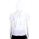 RED VALENTINO 白色領結設計棉質短袖上衣