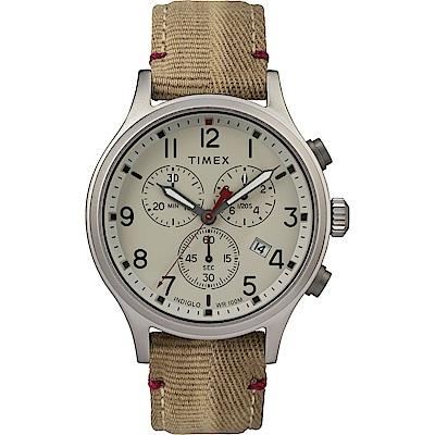 TIMEX 天美時 Allied Chrono系列 復刻潮流三眼計時手錶-米白/42mm