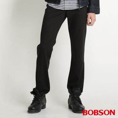 BOBSON 男款高腰膠原蛋白直筒褲(黑87)