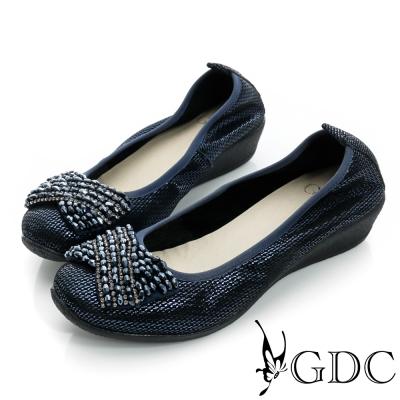 GDC都會-水鑽柔軟亮片楔型真皮低跟鞋-藍色