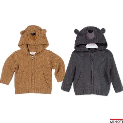 Minoti 英國 帽子小熊造型針織拉鍊連帽外套