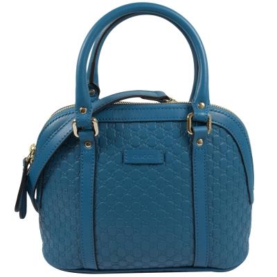 GUCCI 經典雙G緹花全皮革壓紋迷你兩用包.藍
