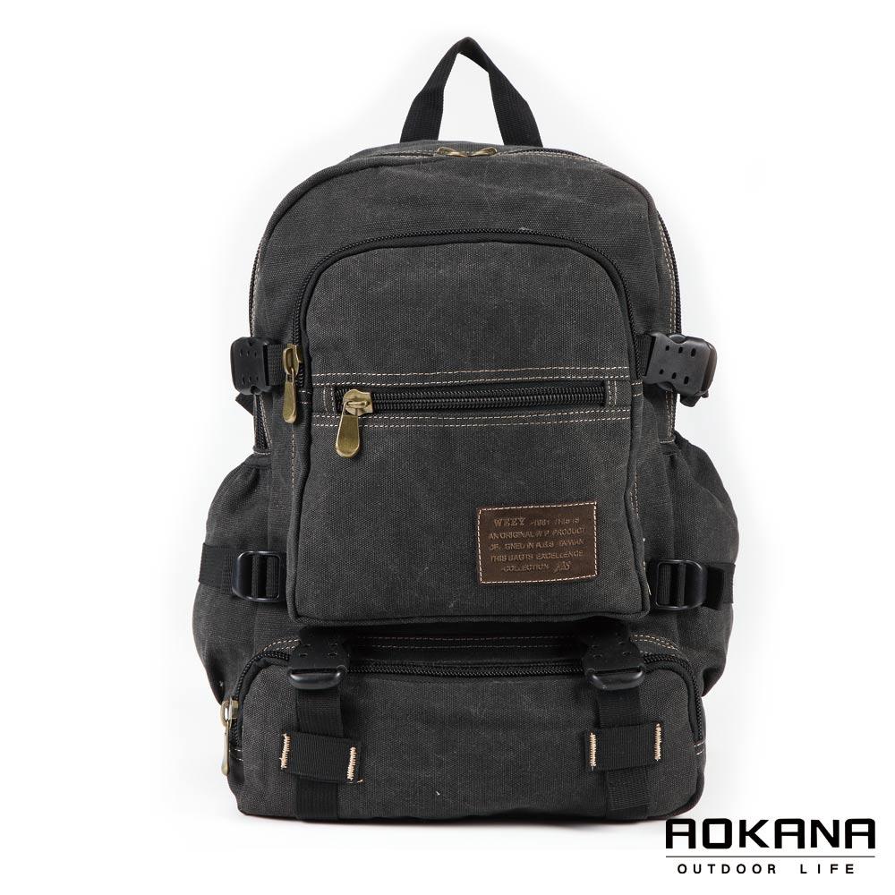 AOKANA奧卡納  潮流時尚水洗帆布後背包/背包(黑)08-013