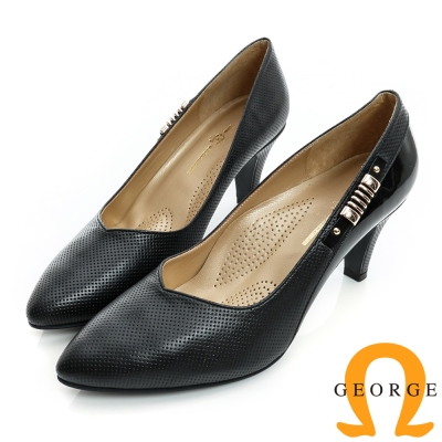 GEORGE-側金屬飾扣洞洞拼接真皮尖頭中跟鞋-黑色
