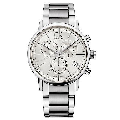 Calvin Klein 都會型男三眼計時石英腕錶(K2G27146)-白色/43mm