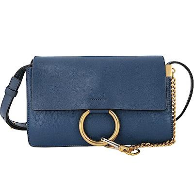 CHLOE Faye 山羊皮拼接小牛皮多夾層肩背/斜背包(小/藍色)