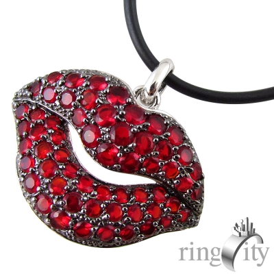 RingCity 紅色香唇造型墜鍊