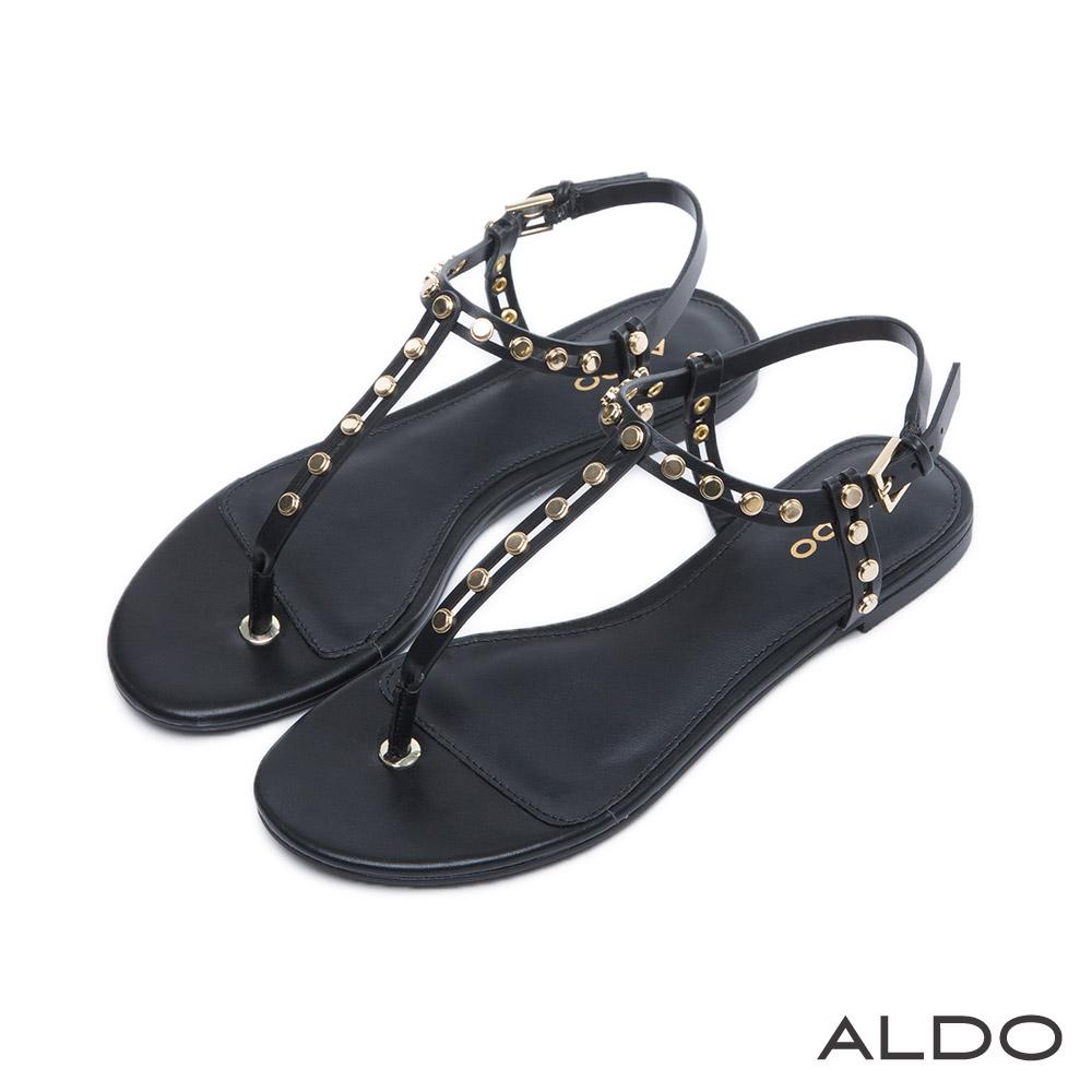 ALDO 原色鉚釘金屬釦T字繫帶涼鞋~尊爵黑色