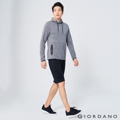 GIORDANO 男裝G-MOTION棉質鬆緊腰運動短褲 - 09 標誌黑