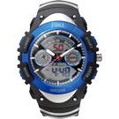 FEMA 炫彩流行 計時鬧鈴 雙顯運動錶(P308A)-黑藍/42mm
