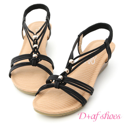 D-AF-溫柔夏風-交叉編織帶串珠楔型涼鞋-黑