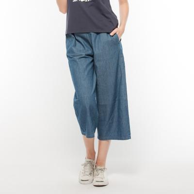 Hang Ten - 女裝 - 時尚潮流寬擺丹寧褲 - 藍