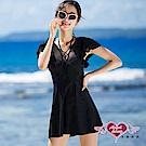 泳衣 清透氣質 中大尺碼一件式連身泳裝(黑L~3L) AngelHoney天使霓裳
