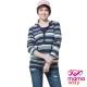 孕婦裝 哺乳衣 經典款橫紋連帽長版孕哺上衣(共二色) Mamaway