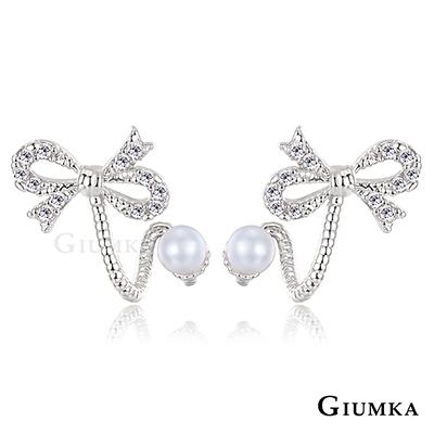 GIUMKA-蝴蝶結造型-耳環-銀色