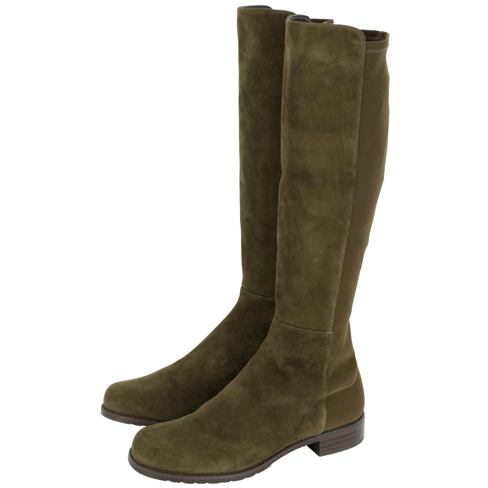 Stuart Weitzman HALF N HALF 麂皮及膝長靴(墨綠色)
