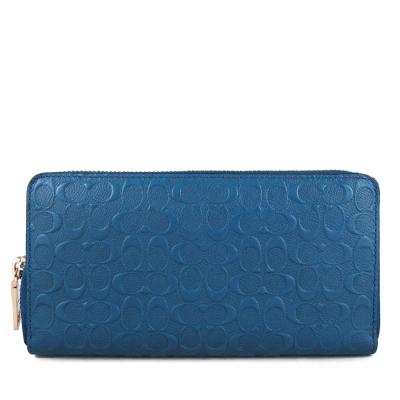 COACH-單寧藍色Logo滿版壓印-型拉鍊長夾