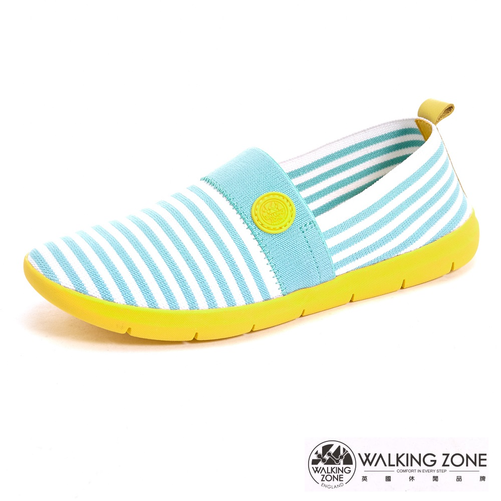 WALKING ZONE 3D超彈力條紋女鞋COLOR RUN-綠