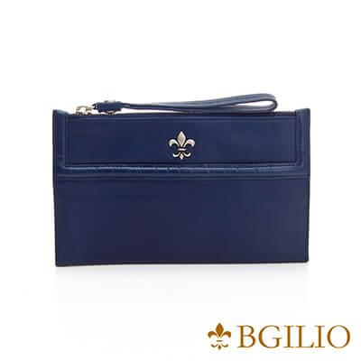 義大利BGilio-NAPPA軟牛皮俏麗拉鍊隨身萬用夾-藍色-1711.301-09