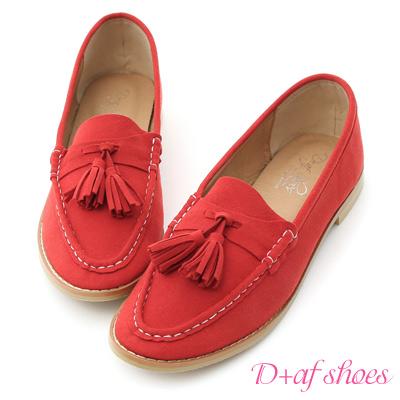 D+AF 好感宣言.小流蘇超軟麂絨樂福鞋*紅