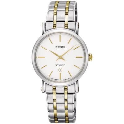 SEIKO 精工Premier 超薄設計石英腕錶(SXB438J1)-銀x雙色/30mm