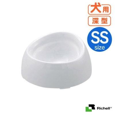 日本Richell白色時尚特殊犬用品種狗碗-深型SS