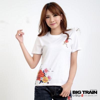 BIG TRAIN 女款 花團錦簇印花TEE-白