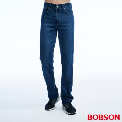 BOBSON 男款高腰貓鬚刷白深藍直筒褲