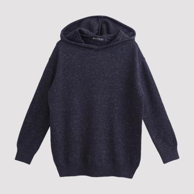 Hang Ten - 女裝 - 寬鬆素面針織帽T - 藍
