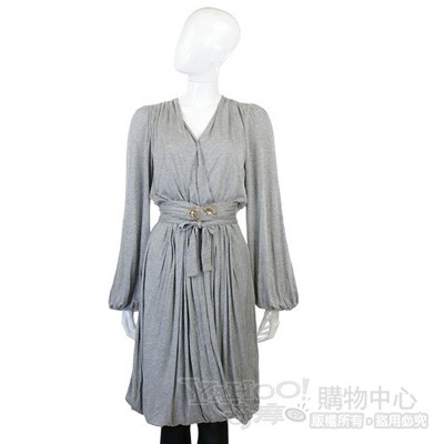 CLASS roberto cavalli 灰色拼接蕾絲綁帶七分袖洋裝(附腰帶)