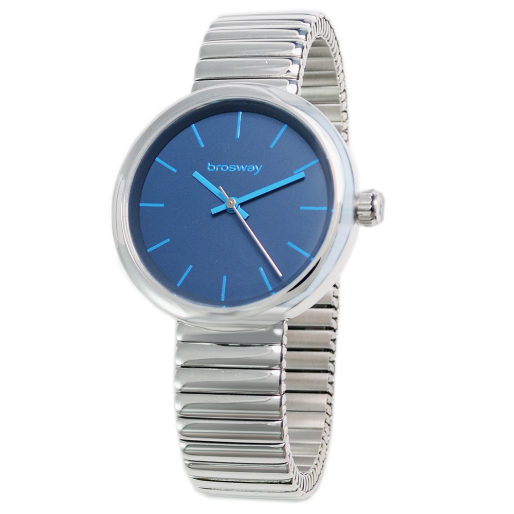brosway B-Crazy 極簡時尚伸縮錶帶腕錶-藍/35.5mm