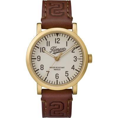 TIMEX 天美時 復刻University系列學院風手錶-米x金框/42mm